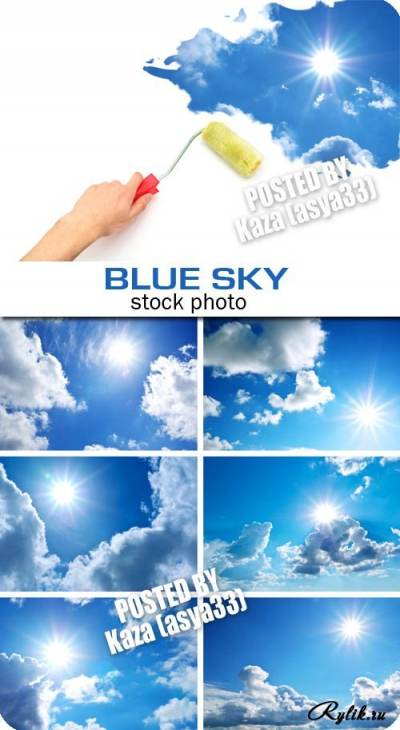 Bright blue the sky -